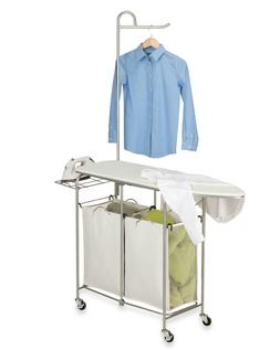 SRT-01974 Foldable Laundry Center, Natural / Silver