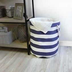 Stompy Laundry Hamper with Rope Handles in Stripe Pattern Wh