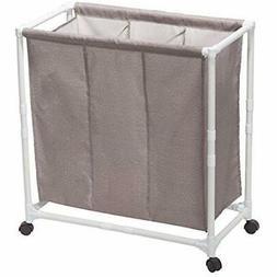 STORAGE MANIAC 3-Section Rolling Laundry Sorter Hamper Locka