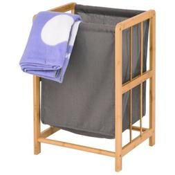 Durable Laundry Hamper Bamboo Frame Sorter Storage Bathroom