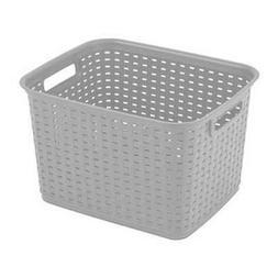 Sterilite Tall Weave Plastic Laundry Hamper Storage, Gray