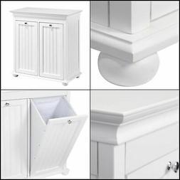 Tilt-Out Laundry Hamper Cabinet Storage White Wooden 2-Compa