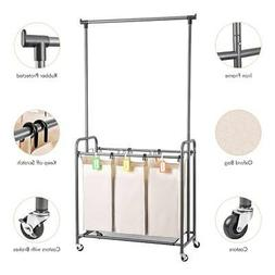 Trolley Laundry Hamper Cart Bin with Clothes Rod Hanging Bar