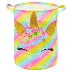 Unicorn Laundry Basket Rainbow Storage Bins Waterproof Nurse