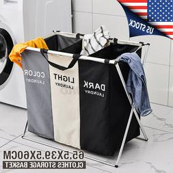 US Handy Foldable Clothes Basket Storage Hamper Laundry Toys