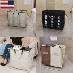 US Laundry 3 Sorter Hamper Clothes Storage Basket Bin Organi