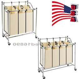 US Laundry Sorter 3/4-Bag Heavy-Duty Rolling Divided Laundry