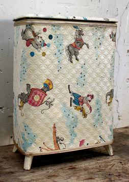Vintage Old Child's Baby's Nursery Laundry Hamper Storage Ch