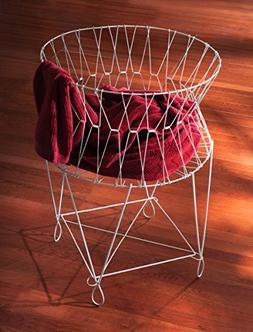 "Vintage White Wire Laundry Basket Hamper 27x27x40"" by KINDWE"