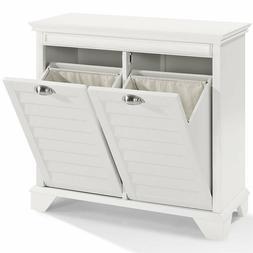 White Laundry Hamper Tilt Out Cabinet Hidden Storage Furnitu