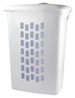 Sterilite White Laundry Hamper with Lift-Top, Wheels, And Pu