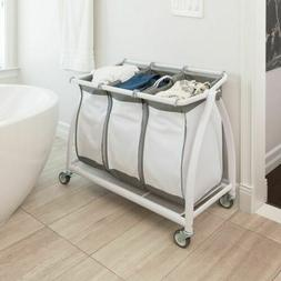 White Metal Laundry Hamper Rolling 3 Sorter Bags Removable C
