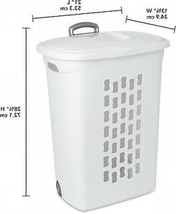 White Wheeled Laundry Hamper W/ Lid Home Portable Clothes Ba