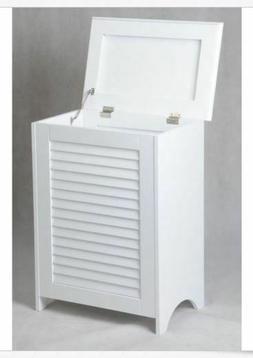 White Wooden Hamper Bathroom Laundry Storage Bin Clothes Bas