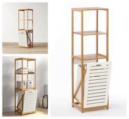 Bathroom Storage Cabinet Wood Laundry Hamper Linen Tower She