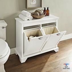 Wood Laundry Hamper Storage Cabinet Wicker Clothes Basket Wi