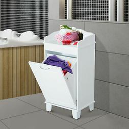 Wooden Bathroom Laundry Hamper Cabinet Tilt Out Basket Stora