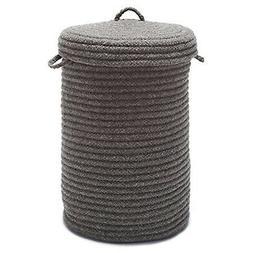 Wool Blend Hamper with Lid, Bark