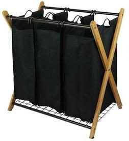 Oceanstar X-Frame Bamboo 3-Bag Laundry Sorter XBS1484