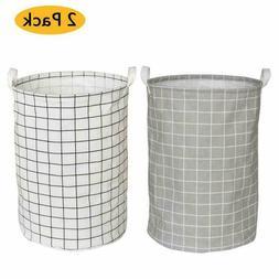 Yoweenton 2 Pack Folding Cylindric Laundry Hamper, 19 Inch F